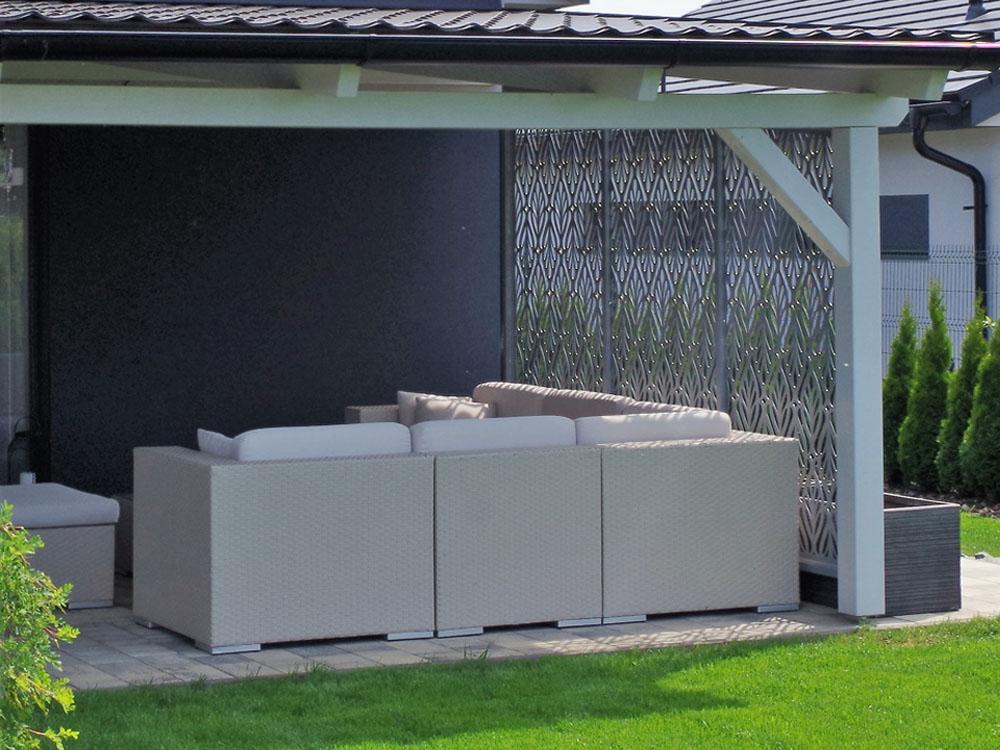zástěna pergoly, zahradní design, hliníková zástěna, hliníkové ploty